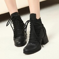 2014 Autumn Winter New Women's Fashion Short Wood heel Boots Occident Retro fuax Leather Sneakers Block Heel Shoes hnG28