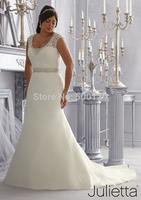 vestidos de noiva 2014 Elegant Crystal Beaded Lace Custom Made Plus Size Long Organza A Line Wedding Dresses