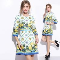 Free Shipping 2014 new elegant yellow lemon vines jacquard printed round neck three quarter sleeve fashion women dress