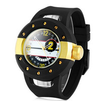 2014 Top Fashion 30 Meter Waterproof Male Watch Round Dial Wristwatch Rubber Band Watches Men