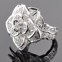 Silver Plated 3D Rose Flower Open Ring Hollow Out Design Finger Ring Fashion Jewelry Valentine's Day Gift Y47*MPJ247#M5