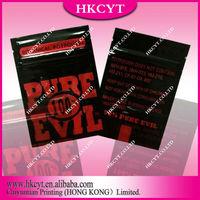 Wholesale resealable aluminum foil spice potpourri bag / pure evil 100% herbal incense ziplock bag