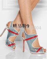 Free Shipping New 2014 Sale Fashion Transparent High Heels Peep Toe Slip On Sandals  Cheap Brand Design Women Pumps