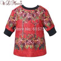 Presale 2015 new brand girls sweatshirts,high quality key print children outerwear, designer babi kids flroal tops, 2-12Y