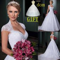 vestidos de noiva 2014 sweetheart open back cap sleeves bride dress wedding dress removeable train  LT116