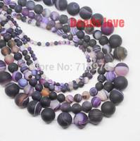 Free Shipping 4 6 8 10 12  14mm Dark purple Round Beads  Dull Polish Matte  Striated Agate Discounts    F00133