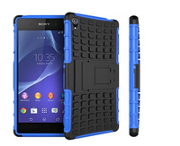 Wholesale Case For Sony Xperia Z3 200pcs DHL Free 2 in 1 Hard TPU + PC Stand Holder Robot Combo Case For Sony Xperia Z3