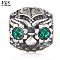 4.5mm Big Hole Fashion Austria Crystal Women Jewelry 925 Sterling Silver European Owl Charm DIY Beads for Bracelets Bangle PZ001