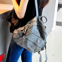 Hot Item 2014 Fashion New Japan and Korean Style Pure Color Washing Soft Women Simple Daily Backpacks Student Bag