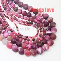 "Free Shipping 4 6 8 10 12  14mm Fuchsia Round Beads  Dull Polish Matte  Striated Agate Pick Siz 15.5""   F00134"