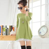 2014 Women's Slim sweet solid color 25% woolen casual dress long-sleeved autumn dress lace dress 244
