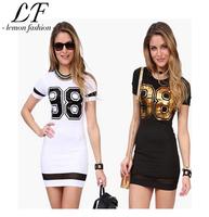 Sport Style Women Short Sleeve Number 98 Printing Slim Fit Dress Black/white