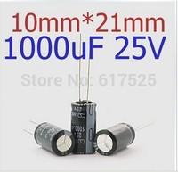 200PCS 1000uF/25V 1000uF 25V electrolytic capacitors Free shiping 10mm*21mm