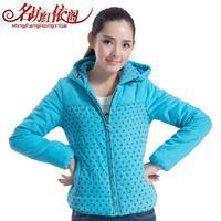 New Korean Women's Slim Down Jacket DOT Hooded Cotton Padded Jacket Winter CoAT Parka Fashion Tops Outerwear