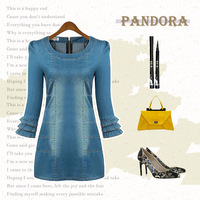 JS0752 2014 Europe and the United States flounced sleeve bag hip tight denim dress