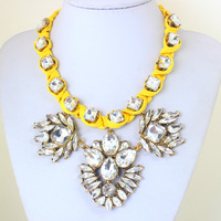 2014 New Arrival Luxury Crystal Necklaces Vintage Gold Necklaces Wrapped with Lint Trendy Jewelry for Women KK-SC669