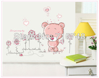 10 Sets/Lot Bear and Flower Cartoon Wall Stickers Child Baby Room & Pink Girl Decoration Wall Stickers