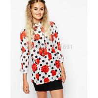 2014 new fashion women elegant rose printed wave point long sleeve blouse Lady casual slim brand design chiffon shirt #J319