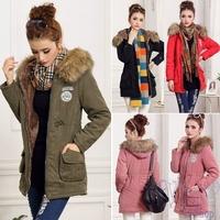 Hot Sale New 2014 Thicken Warm Jacket Women Winter Coat Faux Fur Hooded Jackets Long Overcoat Black Red Outwear Jaqueta Feminina