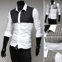 knit shirt 2014 autumn new knit gown men / Korean Fashion Slim men's long sleeve shirt fashion designer stitching shirts 9099