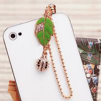 New Style Fashion Green Leaf Dustproof Plug Mobile Phone Dust Plug Crystal Ladybird Phone Pendants SP073