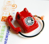 1/12 Dollhouse Miniature Vintage red Telephone Phone BJD Doll toy for children kids