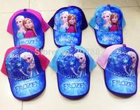 100pcs/Lot Free Shipping !2014 New Styles Frozen Princess Cap Cartoon Sun Hats For Girls Summer Beret Cap A3445 Wholesale