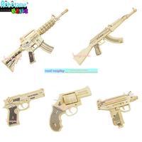 3d dimensional puzzle wooden toy guns gun model assembled wooden diy puzzle M4 ak47