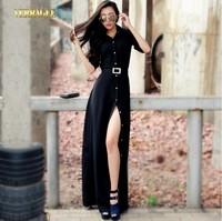 2014 New fashion black long dress turn-down collar vintage slit maxi dress long sleeve plus size solid color floor-length dress