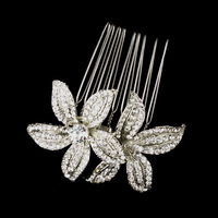 "2.75"" Vintage Style Rhodium Silver Clear Rhinestone Crystal Diamante Women Headwear Flower Hair Comb"