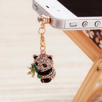 New Style Fashion Mobile Phone Dust Plug Crystal Cute Panda dustproof Plug SP074