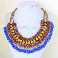 2014 Europe and America Big Fashion Choker Lint Wrap Knit  Resins Beads Chunky Statement Necklace Vintage Jewelry KK-SC673