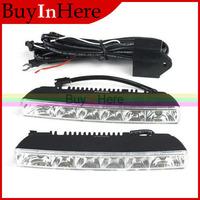 2 PCS Universal Waterproof DC 12V Car Auto 6W White 6 LED Driving Daytime Running Head Lamp Fog Day 6000-7000K Light