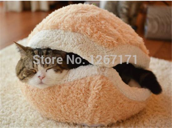 Kitty Hamburger Litter Disassemblability Windproof Pet Nest Shell Cat Bed Hiding Burger Bun Pet Cat Bed Free Shipping CM-PB0048(China (Mainland))
