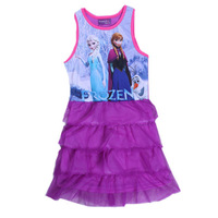 Free Shipping 2014 New Design Girls Frozen dresses Kids Anna& Elsa Princess dress Baby frozen Printed Dresses Cartoon Clothing