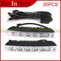 20 PCS Universal Waterproof DC 12V Car Auto 6W White 6 LED Driving Daytime Running Head Lamp Fog Day 6000-7000K Light
