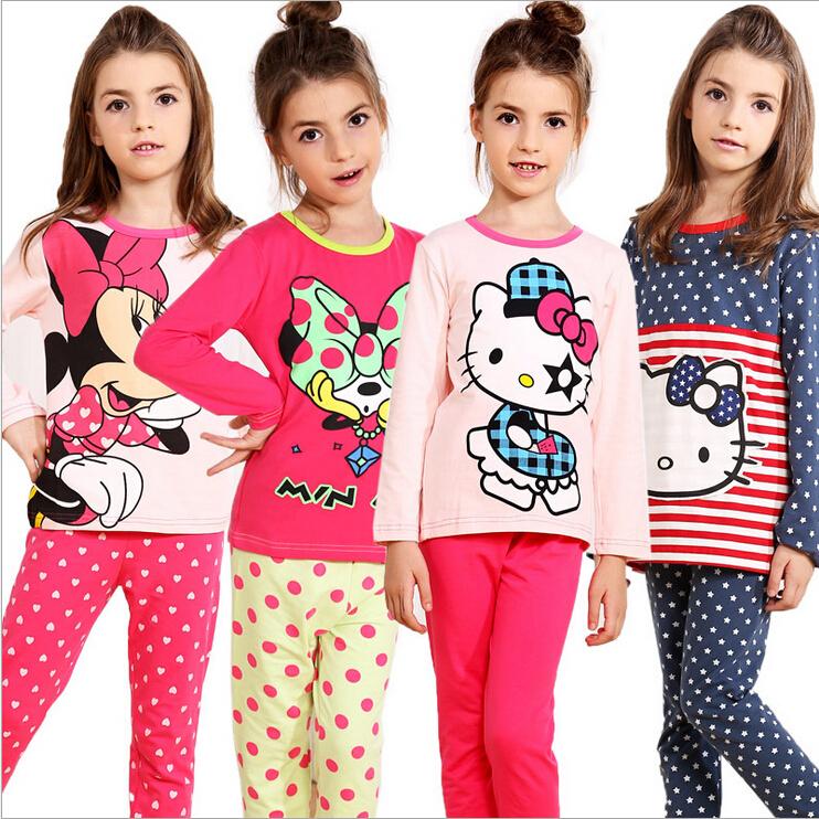 2014 Baby Girls Pajamas Cartoon Pyjamas Sleepwear Home Clothing Nightgown Pijamas Children Girls Pajamas Sleepwear kids Pajamas(China (Mainland))