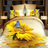 Yellow sunflowers butterflies bedding sets 4pcs 100%cotton duvet quilt cover bedlinen queen size bedclothes bedsheets 3d printed