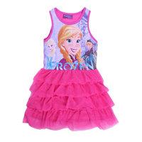 Free Shipping 2014 New Good Quality Girls Frozen dress Kids Anna Princess dress Baby frozen Printed Dresses Cartoon Clothing