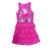 Free Shipping 2014 New Good Quality Girls Peppa pig dress Kids Lace Princess dress Baby Printed Dresses Cartoon Clothing