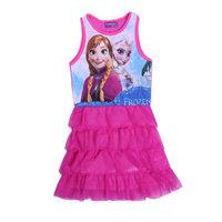 Free Shipping 2014 New Summer Girls Frozen dresses Kids Elsa Anna's Princess dress Baby frozen Printed Dresses Cartoon Clothing