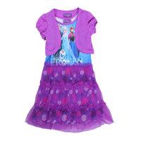 Free Shipping 2014 New Design Girls Frozen dress Kids Princess dresses Baby frozen Printed Dress + Cape 2 pcs Cartoon Clothing
