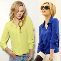 2014 spring auturn new long-sleeve shirt female women chiffon blouse women's casual white slim turn down shirt