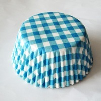 200pcs blue gingham home party cake liners paper baking cups muffins cases cupcake cases