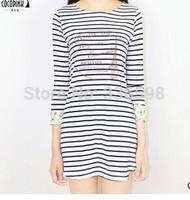 2014 Hot Sale New Bestsellers Preppy Casual Women Striped Slim Crew Neck Stripe  Block three quarter Sleeve One-piece Dress