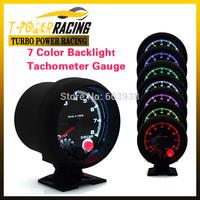 "Universal 3 3/4""  tachometer with 7 colors led 0-8000RPM  Black case and rim /auto meter/auto gauge/Tachometer/Car meter"