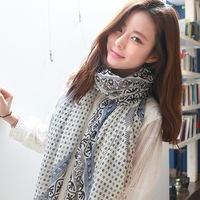 2014 Korean stylish geometric pattern cotton voile scarves oversized diamond plaid scarf shawl , Ms.