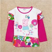 Free Shipping 2014 New Design NOVA Cartoon Clothing Girls Peppa pig T-shirt Kids Long Sleeve t-shirts Baby Embroidery tshirt