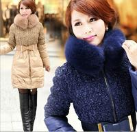 WWY60 2014 new winter coat fashion Slim oversized fox fur collar white duck down jacket women