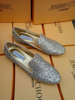 2014 spring / autumn glitter leather shoes inner increasing height shoes Jimmy *** black /white glitter shoes